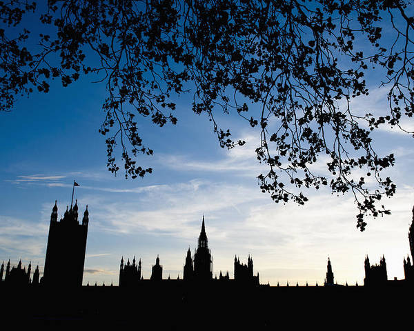 Bankside Poster featuring the photograph Houses Of Parliament Silhouette by Axiom Photographic