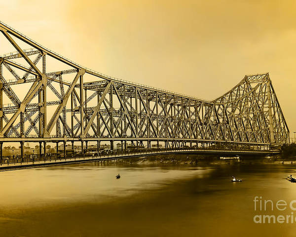 The Howrah Bridge Is A Cantilever Bridge That Spans The Hooghly River In West Bengal Poster featuring the photograph Howrah Bridge by Mukesh Srivastava
