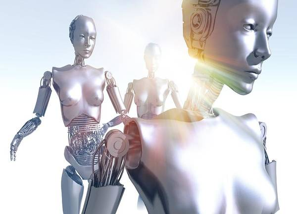 Machine Poster featuring the photograph Humanoid Robots, Artwork by Victor Habbick Visions