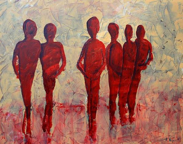 Abstract Poster featuring the painting Humans by Andrea Meyer