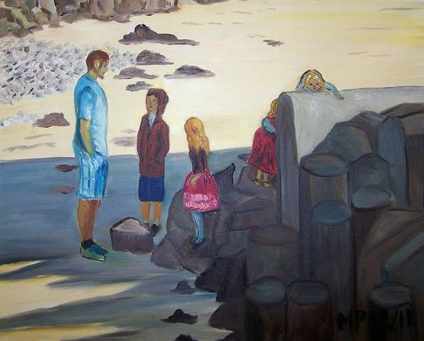 Landscape Poster featuring the painting Hunting For Crabs by Madeleine Prochazka