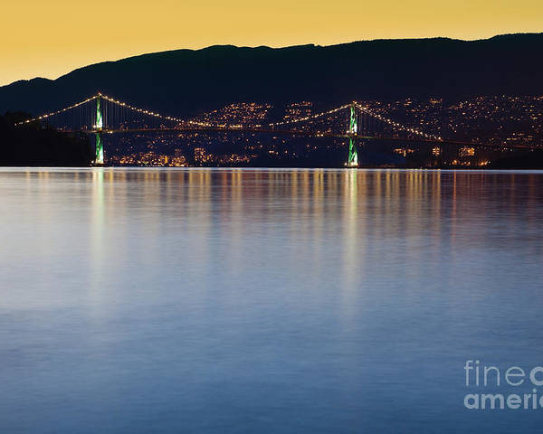 Bay Poster featuring the photograph Illuminated Bridge Across A Bay by Bryan Mullennix