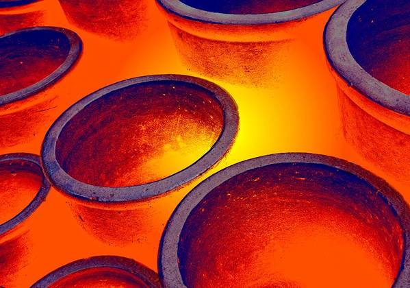 Burning Poster featuring the photograph Illuminated Round Bowls by John Short