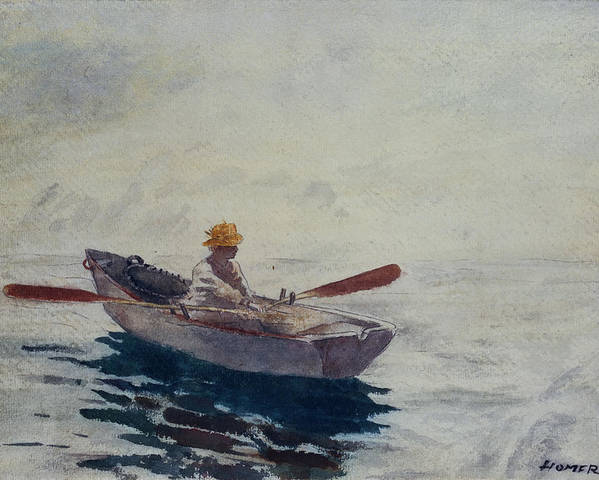 In A Boat (w/c Poster featuring the painting In A Boat by Winslow Homer