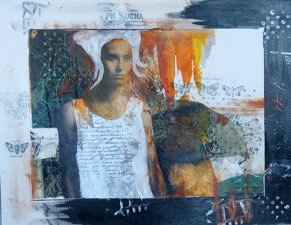 Mixed Media Poster featuring the mixed media In Her Dreams by P Maure Bausch