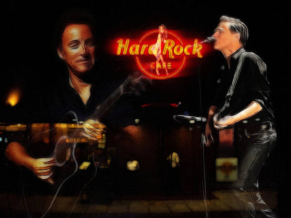 Bruce Springsteen Bryan Adams Hard Rock Cafe Oil Painting Famous Star Stars Musican Music Concert Poster featuring the painting In The Hard Rock Cafe by Steve K