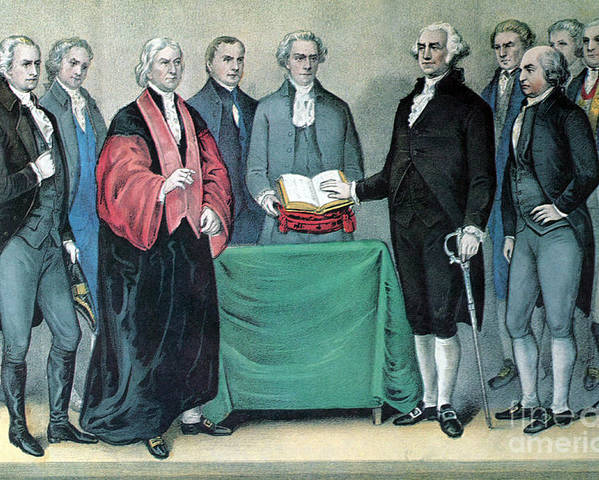 History Poster featuring the photograph Inauguration Of George Washington, 1789 by Photo Researchers