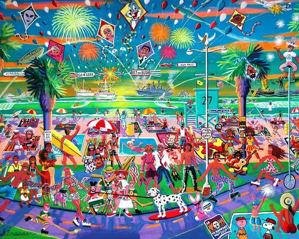 Venice Beach Poster featuring the painting Independence Day Venice Style by Frank Strasser