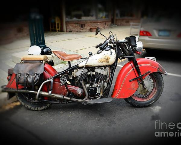 Paul Ward Poster featuring the photograph Indian Chief Motorcycle Rare by Paul Ward