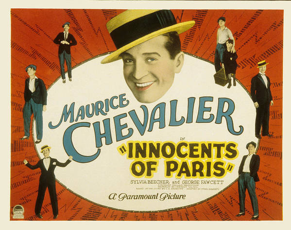 1920s Movies Poster featuring the photograph Innocents Of Paris, Maurice Chevalier by Everett