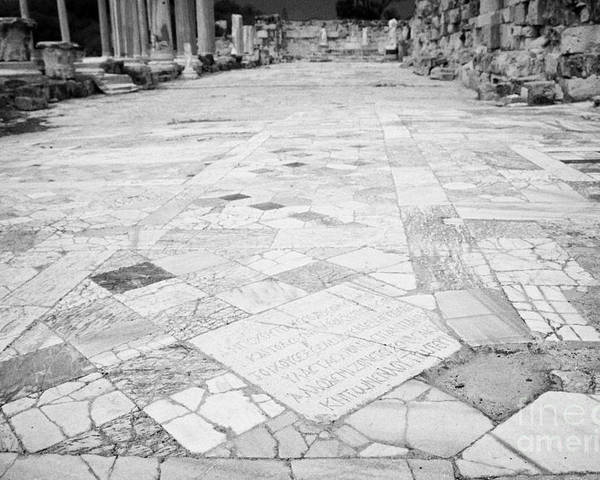 Famagusta Poster featuring the photograph Inscription In The Floor Tile Of The Gymnasium Stoa Ancient Site Of Salamis Famagusta by Joe Fox