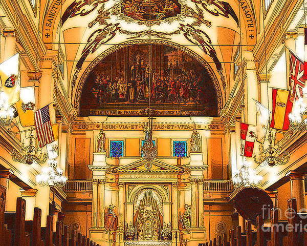 Travelpixpro New Orleans Poster featuring the digital art Inside St Louis Cathedral Jackson Square French Quarter New Orleans Digital Art by Shawn O'Brien