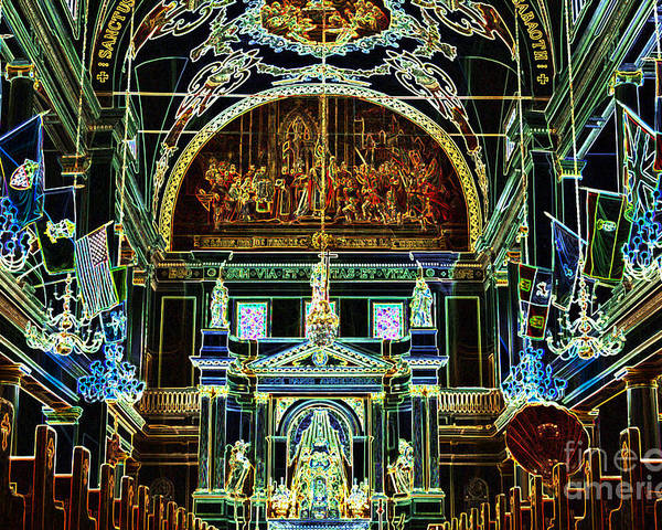 Travelpixpro New Orleans Poster featuring the digital art Inside St Louis Cathedral Jackson Square French Quarter New Orleans Glowing Edges Digital Art by Shawn O'Brien