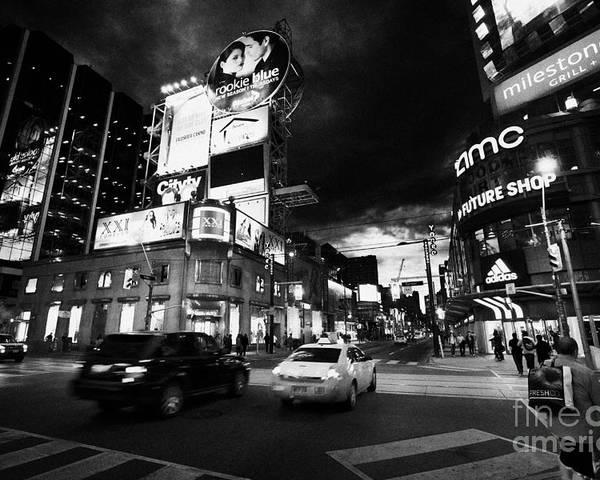 Yonge-dundas Poster featuring the photograph Intersection Of Yonge And Dundas At Night Yonge-dundas Square Toronto Ontario Canada by Joe Fox