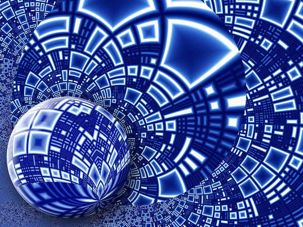 Blue Poster featuring the digital art Interstellar City by Pam Blackstone