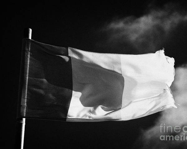 Republic Poster featuring the photograph Irish Tricolour Flag With Frayed Edges Flying In Republic Of Ireland by Joe Fox