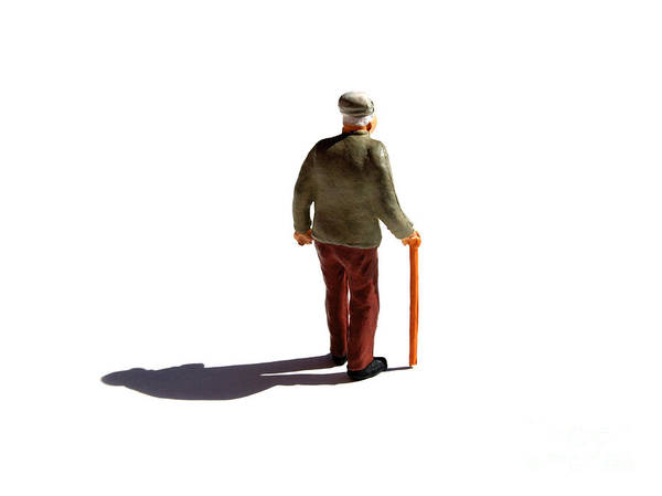 Aging Process Poster featuring the photograph Isolated Old Man. by Bernard Jaubert