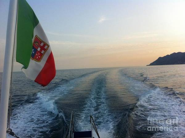 Italy Poster featuring the photograph Italian Flag On Boat Off Amalfi by Richard Chapman