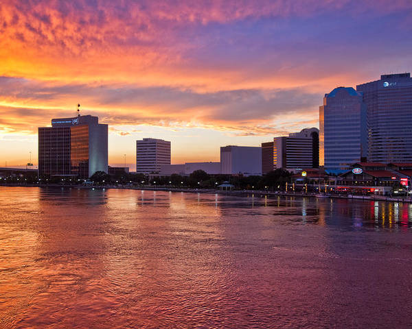 Clouds Poster featuring the photograph Jacksonville Skyline At Dusk by Debra and Dave Vanderlaan