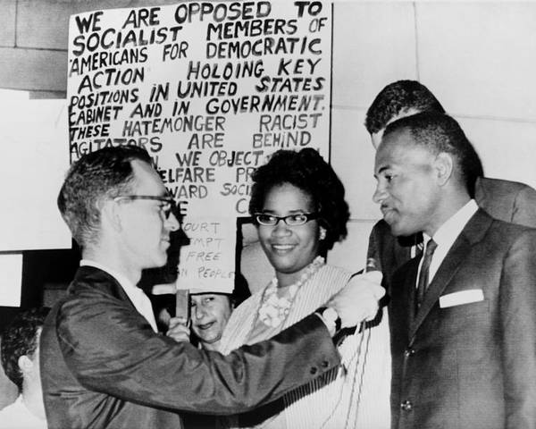 History Poster featuring the photograph James Meredith And Wife In Front by Everett