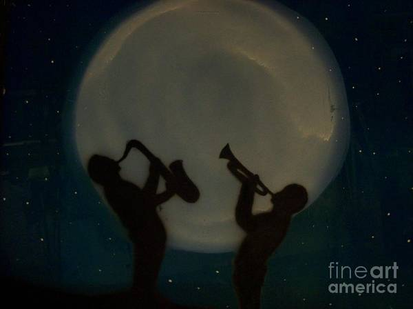 White Moon Poster featuring the glass art Jazzing At The Moon by Damion Powell