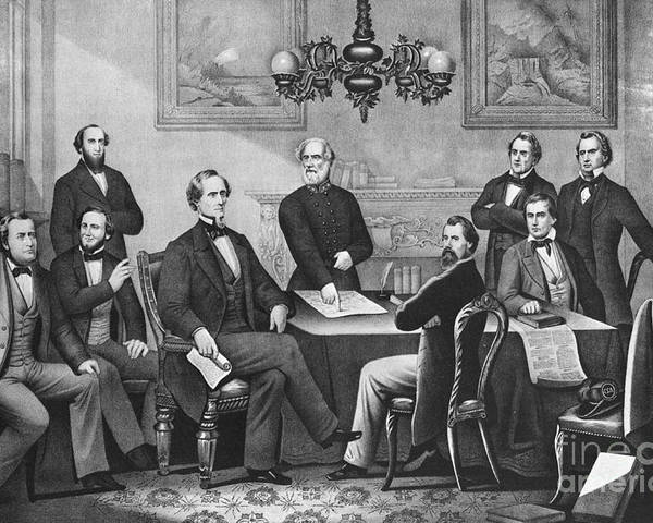 America Poster featuring the photograph Jefferson Davis, Cabinet by Photo Researchers