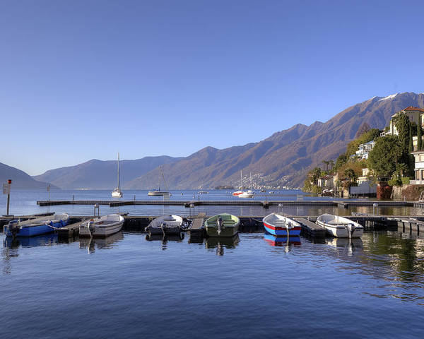 Port Poster featuring the photograph jetty in Ascona by Joana Kruse