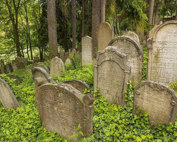 Horizontal Poster featuring the photograph Jewish Town Tombs In The Jewish Cemetery by Maremagnum