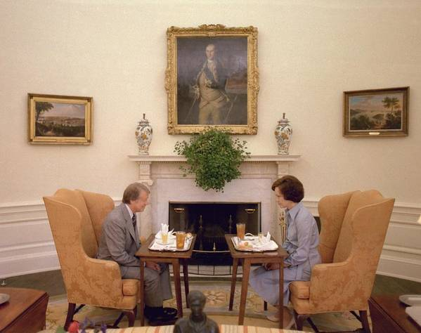 History Poster featuring the photograph Jimmy Carter And Rosalynn Carter Having by Everett