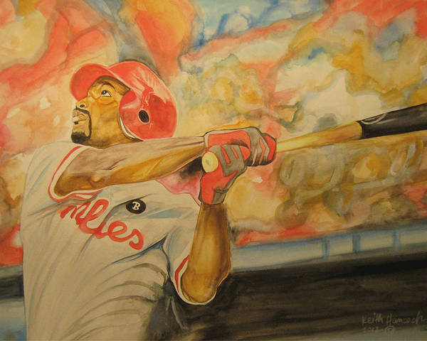 Baseball Poster featuring the painting Jimmy Rollins by Keith Hancock