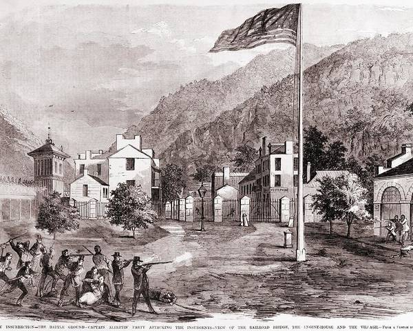 History Poster featuring the photograph John Browns Harpers Ferry Insurrection by Everett