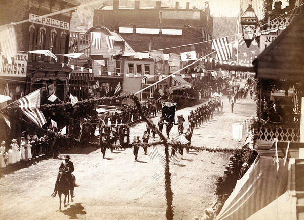 1880s Poster featuring the photograph Jollification. Parade Celebrating by Everett