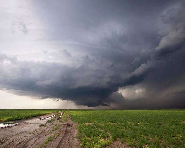 Horizontal Poster featuring the photograph Kansas Distant Tornado Vortex 2 by Ryan McGinnis