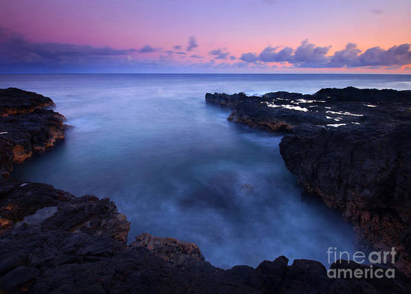 Spouting Horn Poster featuring the photograph Kauai Pastel Tides by Mike Dawson