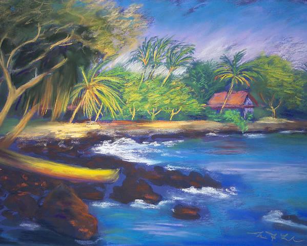 Kealakekua Bay Poster featuring the painting Kealakekua Bay by Karin Leonard