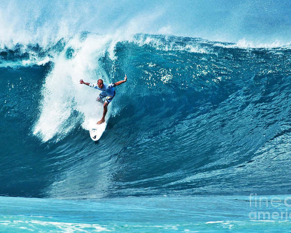 Kelly Slater Poster featuring the photograph Kelly Slater At Pipeline Masters Contest by Paul Topp