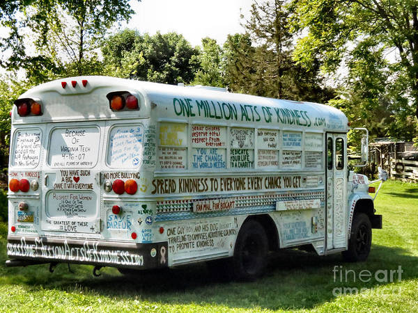 One Poster featuring the photograph Kindness Bus 2 by Art Dingo