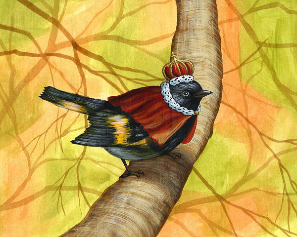 Birds Poster featuring the painting King Of The Woodland Realm by Amy Giacomelli