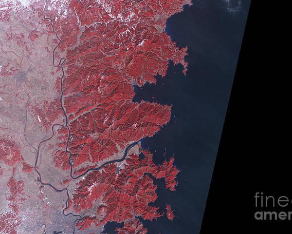 Japan Poster featuring the photograph Kitakami River, Japan, Before Tsunami by National Aeronautics and Space Administration