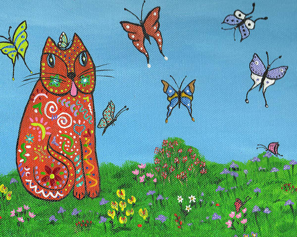 Cat Poster featuring the painting Kittyboy's Butterflies by Marilyn Ferguson