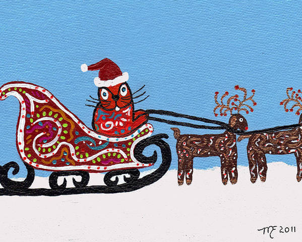 Cat Poster featuring the painting Kityboy Helps Santa by Marilyn Ferguson