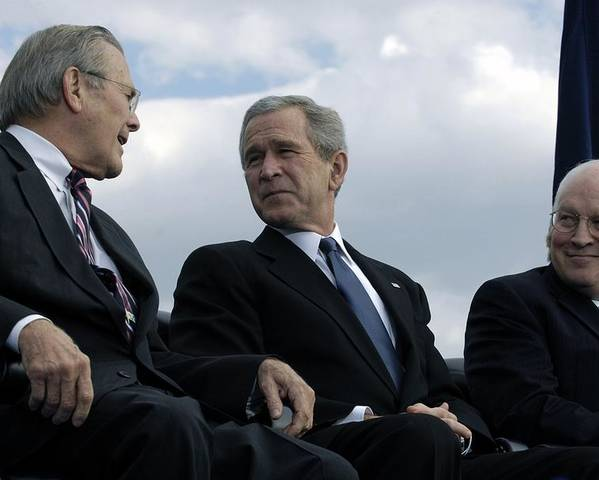 History Poster featuring the photograph L To R Sec. Of Defense Donald Rumsfeld by Everett