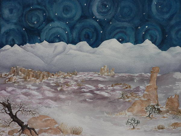 Utah Poster featuring the painting La Sal Mountains In The Snow by Estephy Sabin Figueroa