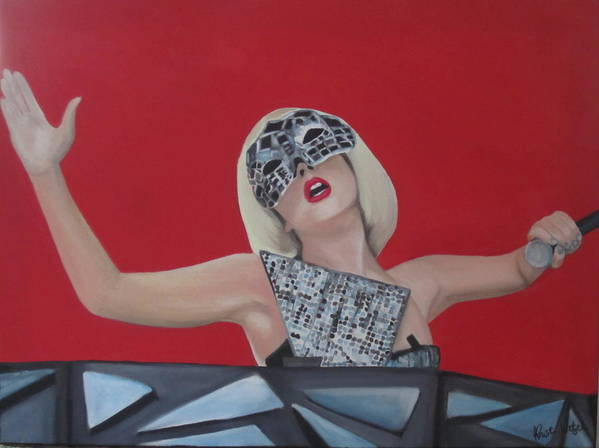 Mask Poster featuring the painting Lady Gaga Poker Face by Kristin Wetzel