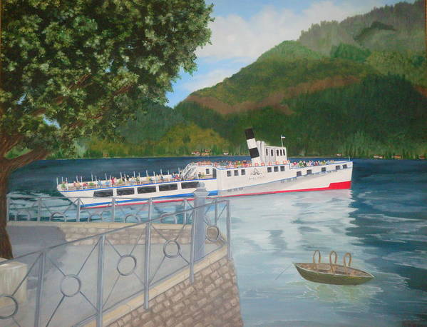 Paintings Poster featuring the painting Lago Di Como Ferry by Linda Scott
