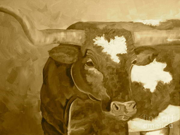 Longhorn Poster featuring the painting Laid Back Big Boy- Sepia Tone by Amy Higgins