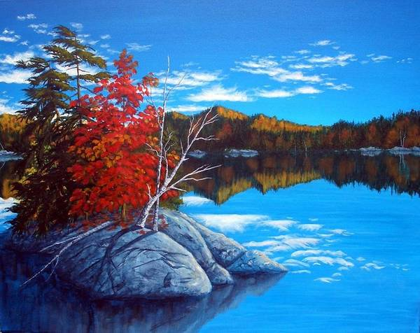 Landscape Poster featuring the painting Lake Clear by Rick Gallant