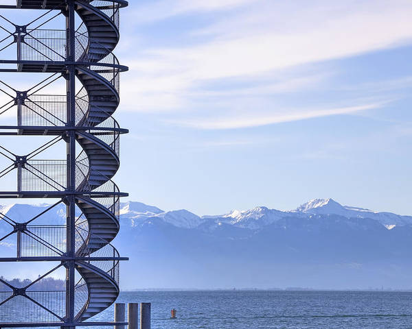 Lookout Poster featuring the photograph Lake Constance Friedrichshafen by Joana Kruse