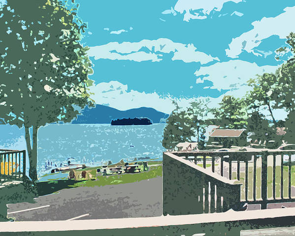 Lake Poster featuring the digital art Lake George Ny by Brian Roberts
