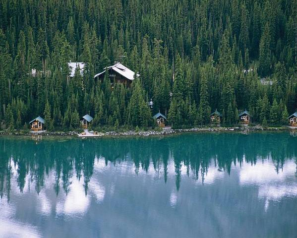 North America Poster featuring the photograph Lake Ohara Lodge And Cabins by Michael Melford